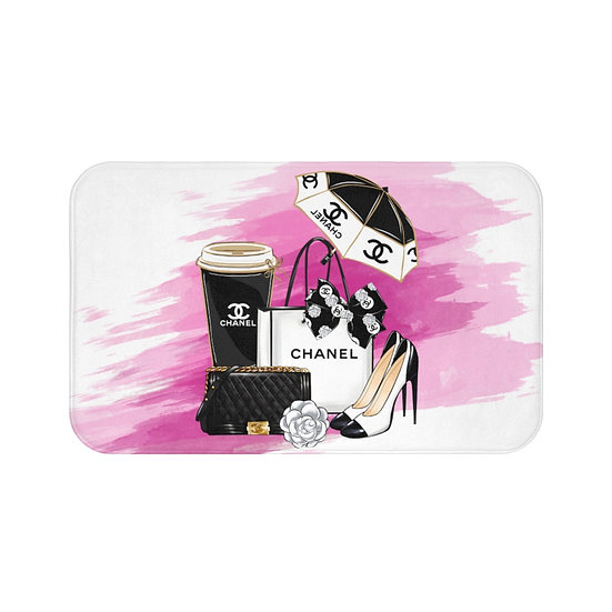 Bath Mat, Pink, Shoes, Books, Blush, Fashion,  Fashion Illustration Bath Mat