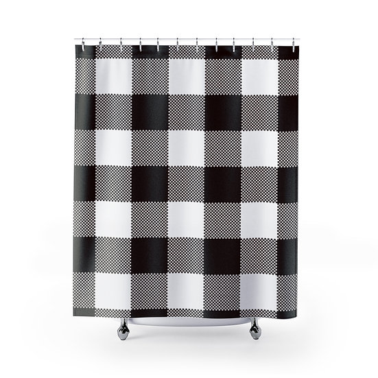 Black and White Plaid Shower Curtains