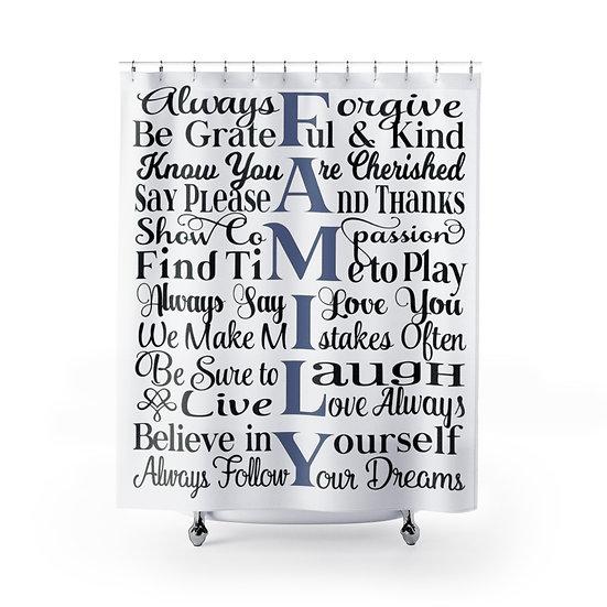 Farmhouse Shower Curtains, Family Rules Bathroom Decor, Funny fabric Liner