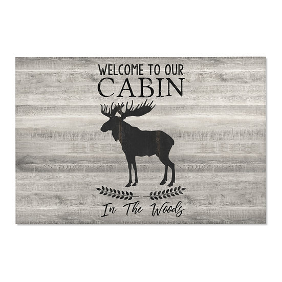 Area Rug, Moose Cabin Rug, Horizontal Gray Barnwood Print Farmhouse Western Rug