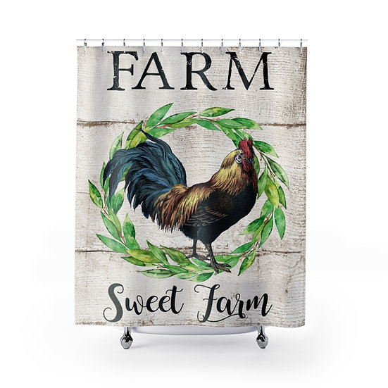 Farmhouse Shower Curtains, Farm Sweet Farm Chicken Fabric Liner,