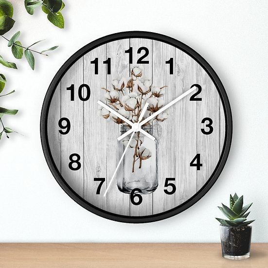 Clock, 10 in Cotton Mason Jar Wall Clock, Rustic Farmhouse Country Clock