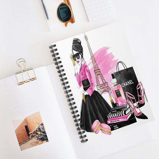 Spiral Notebook, Paris Fashion Spiral Notebook, Fashion Girl Notebook