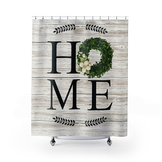 Farmhouse Wreath Shower Curtain,  Barnwood Home Fabric Liner