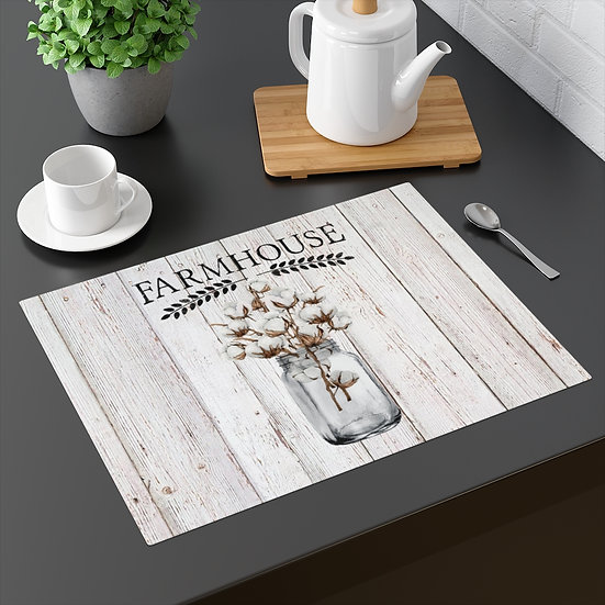 Farmhouse Placemat, Country Mason Jar of Cotton, 18 in x 14 in Table Placemats