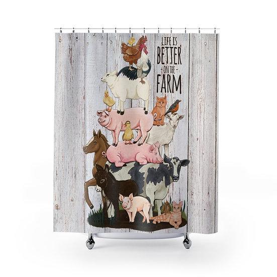 Shower Curtain, Farm Animal Stack Shower Curtains, Funny Bathroom Decor