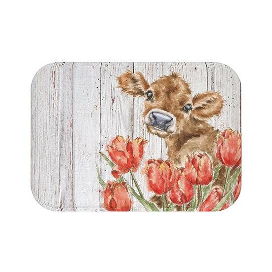 Bath Mat, Watercolor Cow in Flowers Bath Mat, Non Slip Bathroom Rug