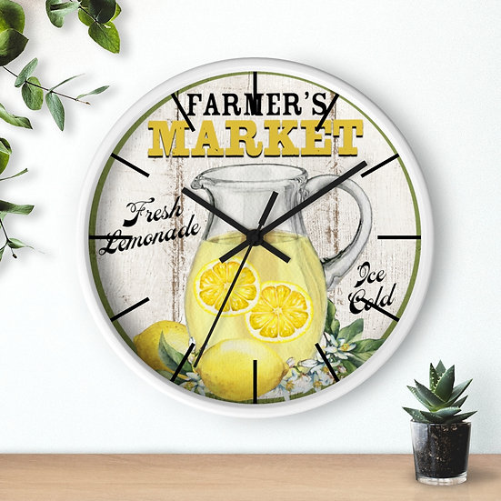Lemon Clock, Farmers Market Lemonade, Kitchen Wall Clock, 10 in Rustic Farmhouse
