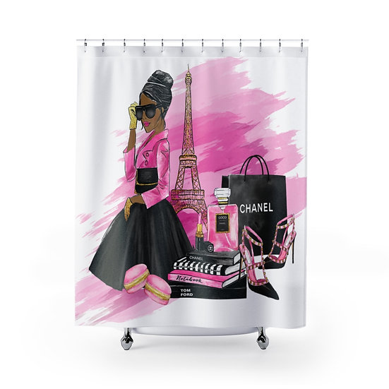 Shower Curtain, Fashion, African American Woman, Pink Fashionista Shower Curtain