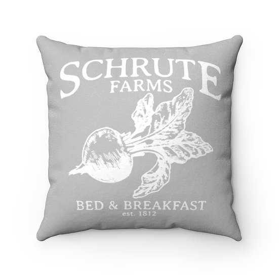 Gray Schrute Farms, The Office, Funny Faux Suede Square Pillow, Home Decor
