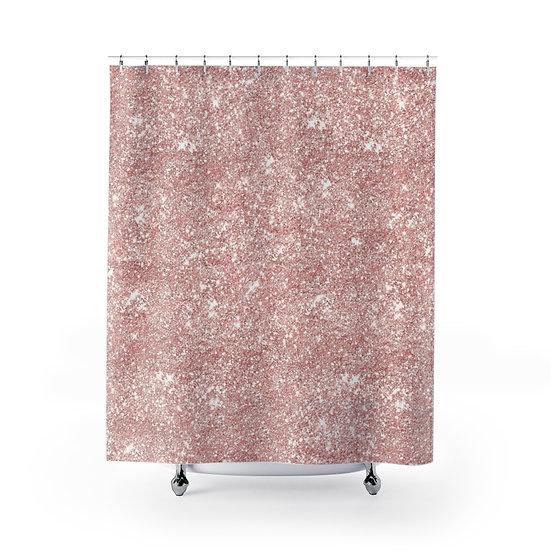 Shower Curtain, Pink Glitter, Fashion illustration, Fashionista Shower Curtain