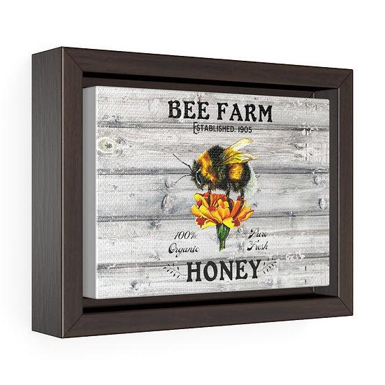 Canvas Print, Farmhouse Honey Bee and Marigolds, Farmhouse Wall Art, Horizontal