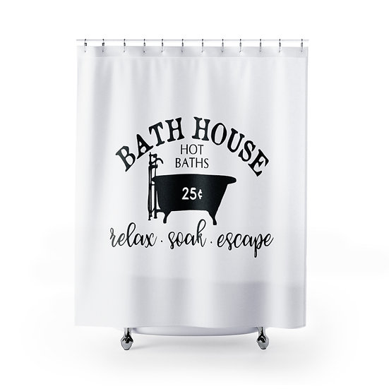 Bath House Shower Curtain, Rustic Farmhouse Bathroom Shower, Guest Bath
