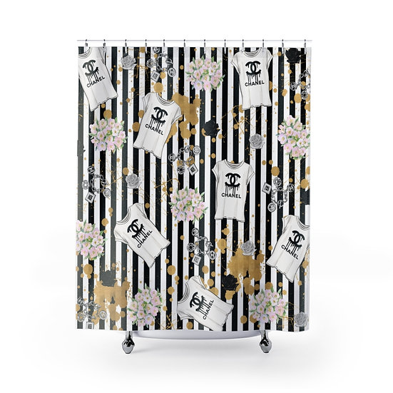 Designer Inspired Fashion Shower Curtain, Black & Gold Fashionista Illustration