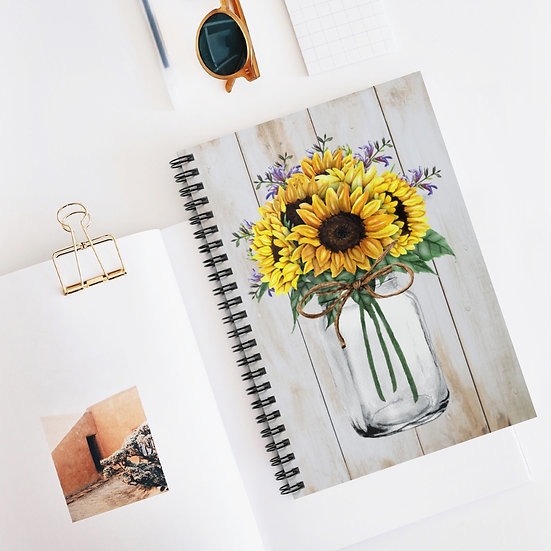 Spiral Notebook, Sunflower Mason Jar Spiral Notebook, Stationary Notebook