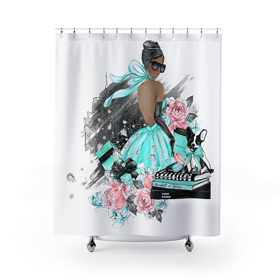 Shower Curtain, Fashion African American Woman, Blue Fashionista Shower Curtain
