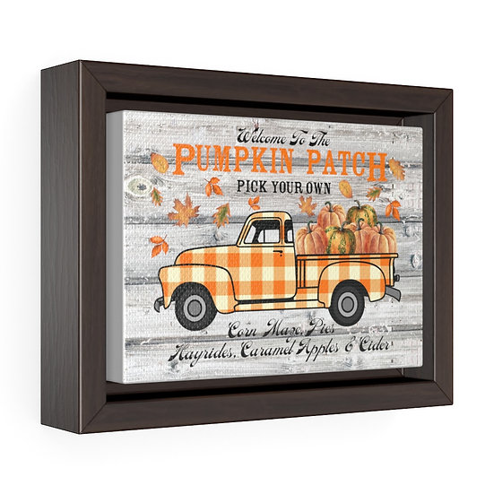 Canvas Print, Farmhouse  Pumpkin Patch Truck, Kitchen Wall Art Horizontal Framed