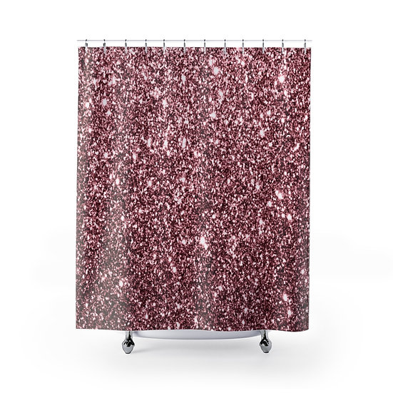 Rose Glitter Print Shower Curtain, Blush Glitter Fashionista Illustration