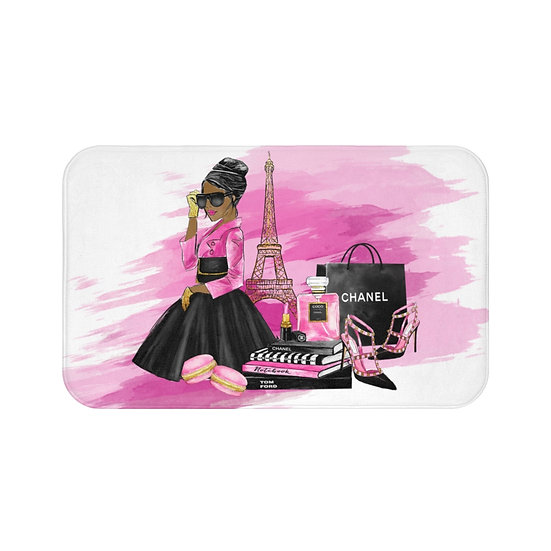 Bath Mat, Pink, Shoes, Books, Blush, African American Fashion, Illustration
