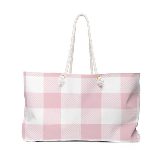 Pink White Checkered Weekender Bag