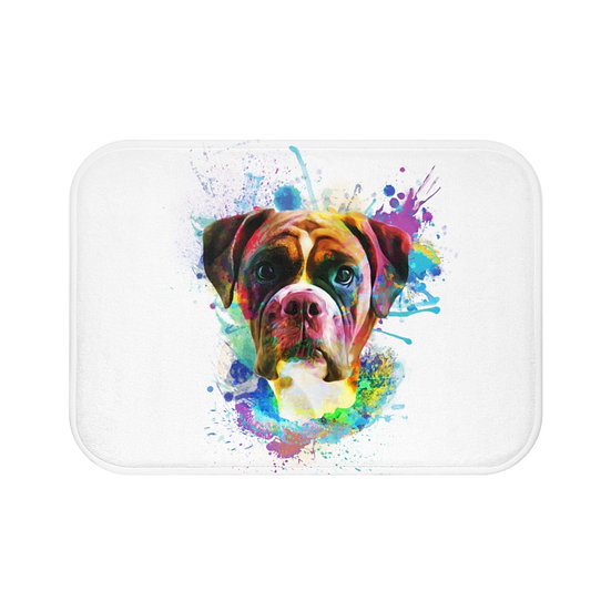 Bath Mat, Watercolor Boxer Bath Mat, Cute Non Slip Bathroom Rug, Dog Lover
