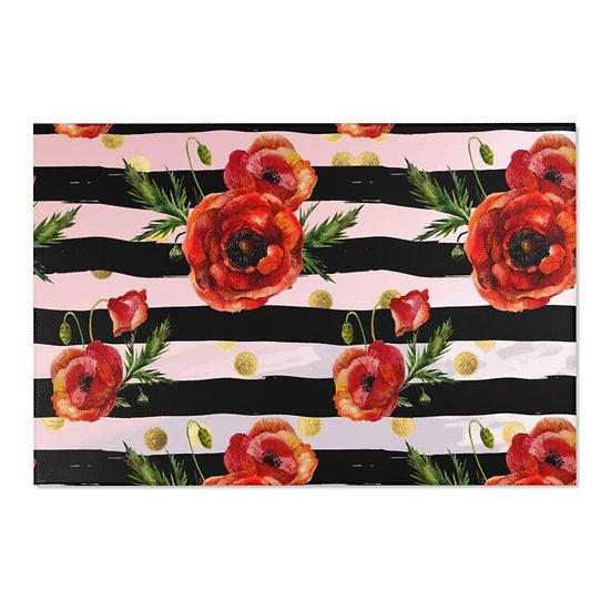 Area Rugs, Poppy Fashion Rug , Pink Nd Black Floral fashionista Rug