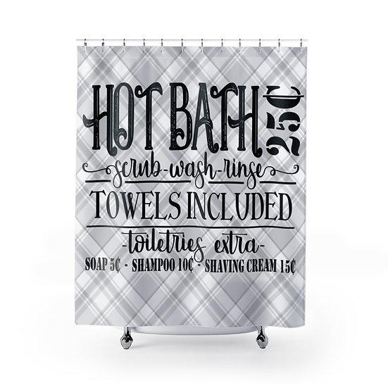 Shower Curtain, Old Fashion Hot Bath 25 cents Designer Shower Curtain,