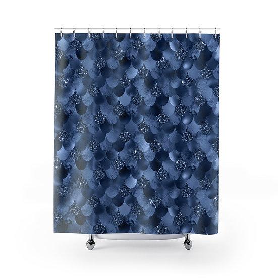 Blue Mermaid Shower Curtain, Blue Fashionista Illustration
