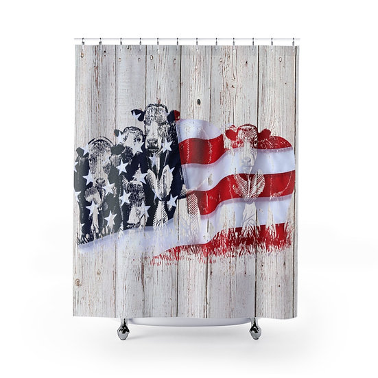 Shower Curtain, American Flag Cattle, Shower Curtains, USA Cows Fabric Liner