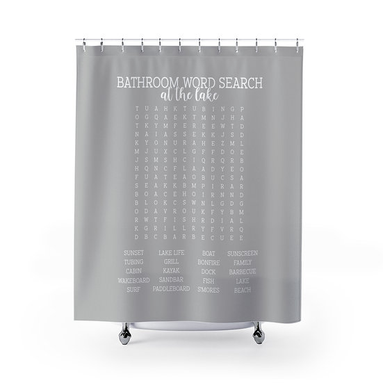 Forget Your Phone At the Lake Edition Shower Curtains, Gray Word Search Fabric