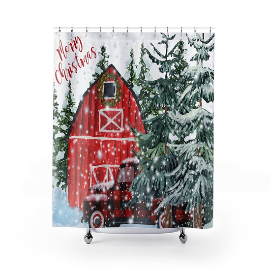 Merry Christmas Shower Curtain, Snowy Red Barn and Truck Fabric Liner