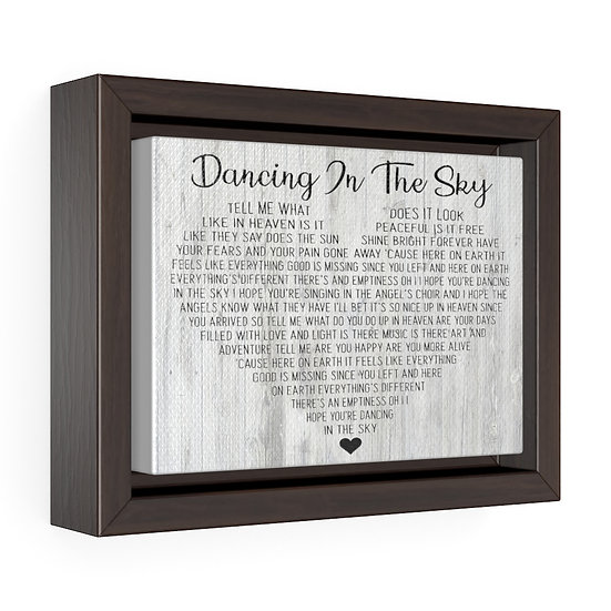 Song Lyric Print, Dancing In the Sky Personalized Memorial Song Lyric Canvas