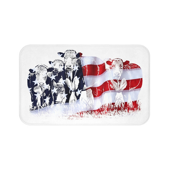 Bath Mat, American Flag Cattle Bath Mat, White USA Cows Non Slip Bathroom Rug