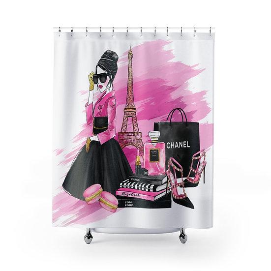 Shower Curtain, Pink Fashion illustration,  Fashionista Shower Curtain