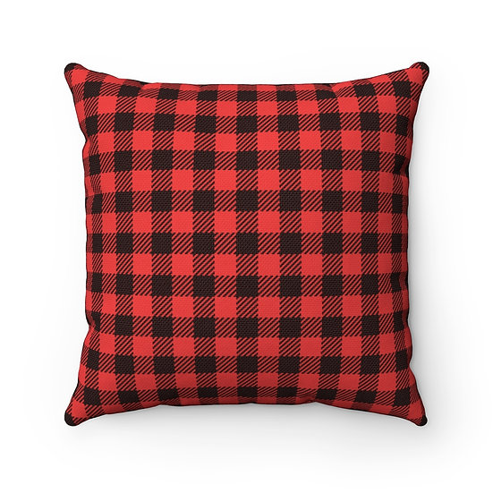 Red Plaid Pillow, Red and Black Plaid Pillow, Cabin Pillow, Throw Pillows