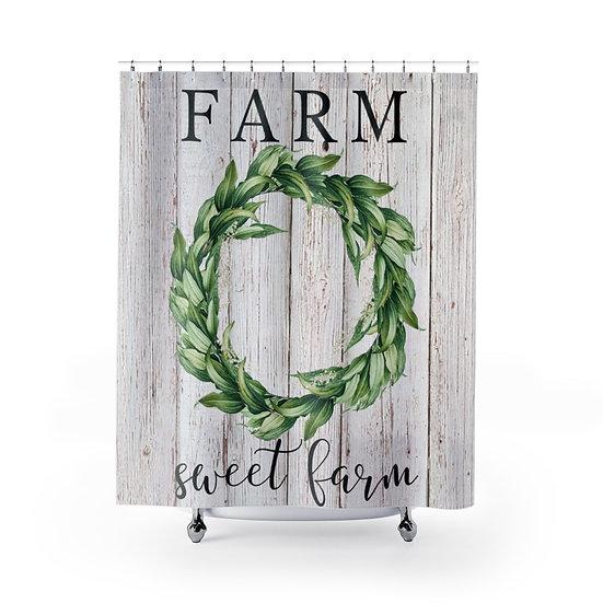 Shower Curtain, Personal Family Initial Farm Sweet Farm Wreath Fabric Liner