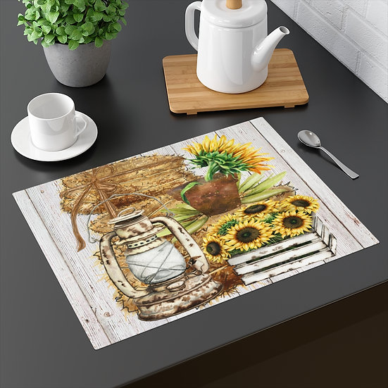 Farmhouse Placemat, Country Charm and Sunflowers, 18 in x 14 in Table Placemats