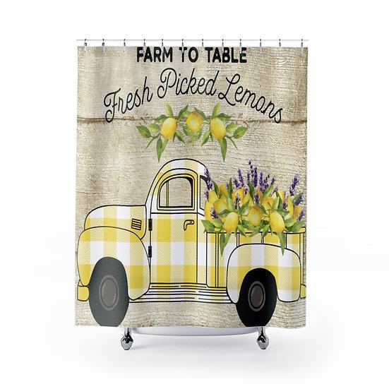Farmhouse Lemon Truck Shower Curtains, Yellow Plaid Lemon Truck Fabric Liner