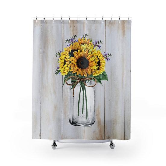 Sunflowers Mason Jar Shower Curtain, Modern Farmhouse Designer Curtain