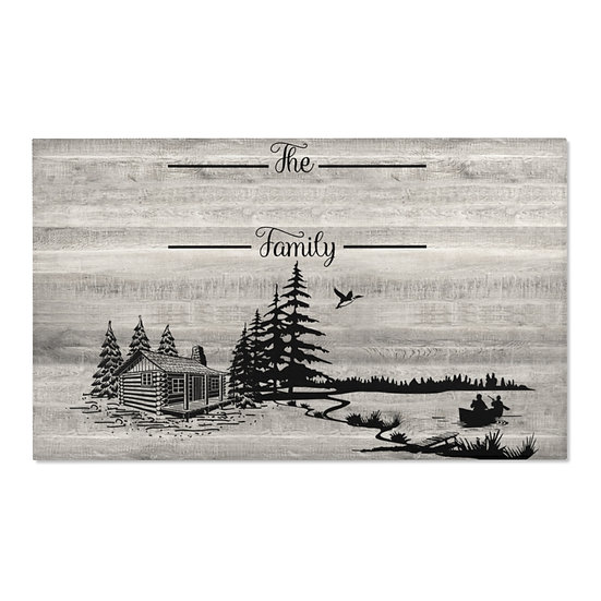 Area Rug, Family Name Cabin Rug, Gray Barnwood Print Farmhouse Rug, Country