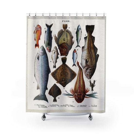 Fish Shower Curtain, Fishing Fabric Liner, Lodge Cabin Bathroom Decor