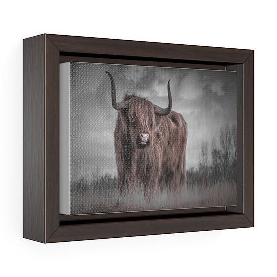 Highland Cow Canvas, Above the Mantle Wall Hanging, Rustic Ranch Home Decor