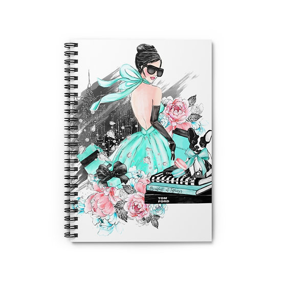 Spiral Notebook, Girl Fashion Spiral Notebook, Blue Fashion Girl Notebook, Ruled