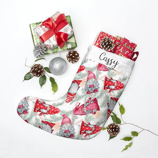 Personalized Christmas Stockings, Christmas Tree Gnomes Christmas Stocking