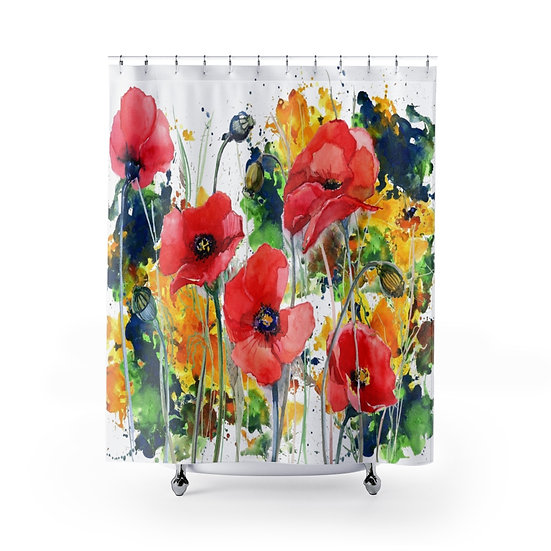 Watercolor Poppy Shower Curtains, Floral Fabric Liner