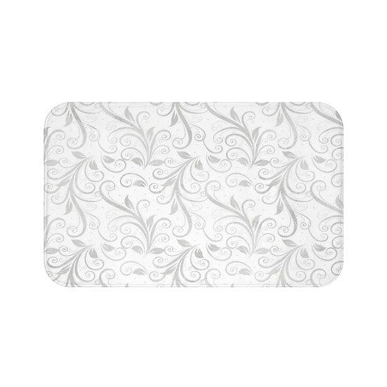 Gray Floral Bath Mat