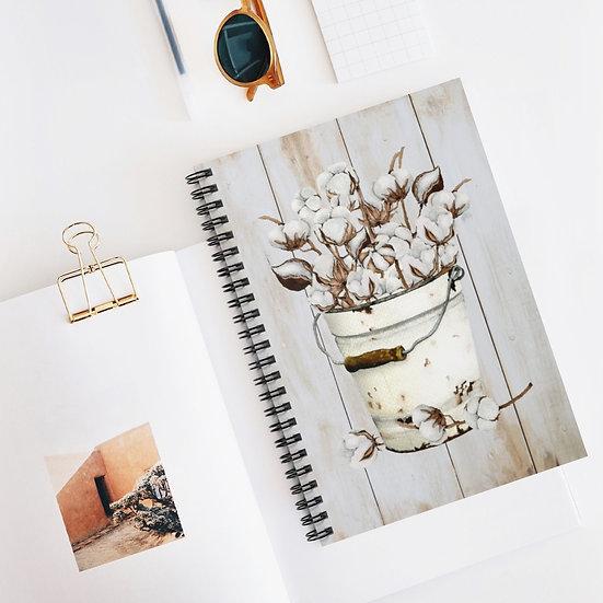 Spiral Notebook, Rustic Bucket Cotton Spiral Notebook, Farmhouse Notebook