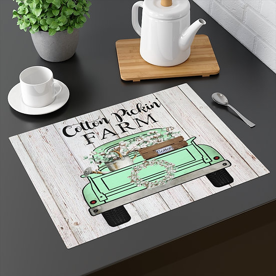 Farmhouse Placemat, Cotton Farm Truck, 18 in x 14 in Table Placemats