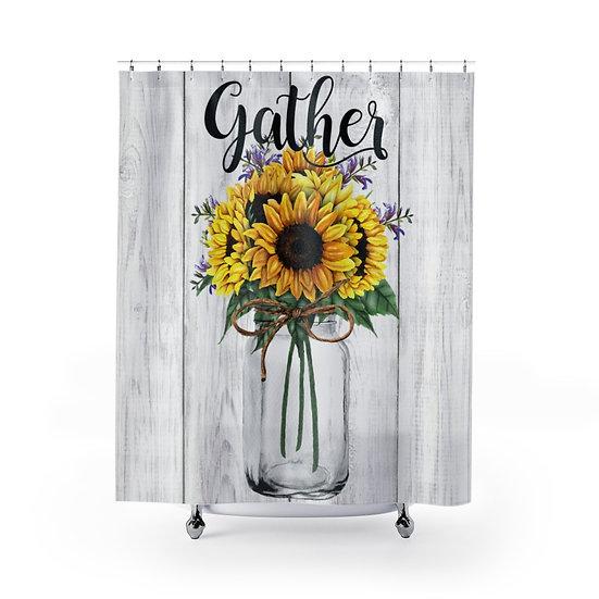 Shower Curtain, Gather Sunflowers Mason, Modern Farmhouse Designer Curtain