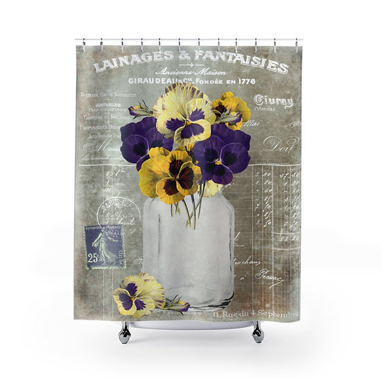 Shabby Chic Floral Shower Curtain, Vintage Pansies Bath Liner